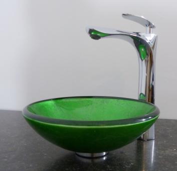 Kleines Aufsatz Glas Waschbecken rund grün 29cm