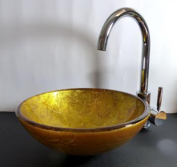 Aufsatz Glas Waschbecken gold rot 31cm