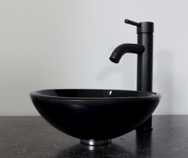 Aufsatz Glas Waschbecken schwarz rund 31cm