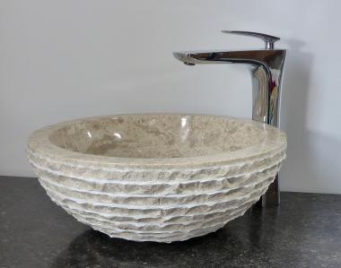 Aufsatz Waschbecken rund Marmor gehämmert creme
