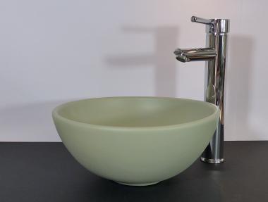 Kleines Keramik Aufsatz Waschbecken rund khaki matt