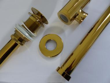 Ablaufgarnitur mit Pop-Up Excenter-Garnitur gold glänzend