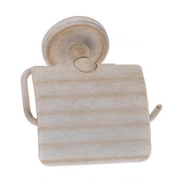 Toilettenpapierhalter Messing weiß antik gebürstet