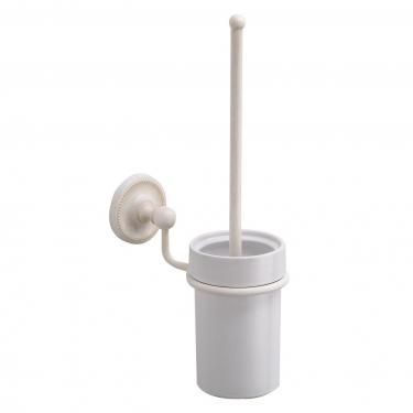 Wand WC-Bürste Keramik / Messing weiß antik gebürstet
