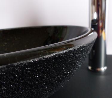 Aufsatz Glas Waschbecken schwarz Granit Look 31cm