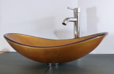 """Aufsatz Glas Waschbecken """"Sunshine"""" gold oval"""