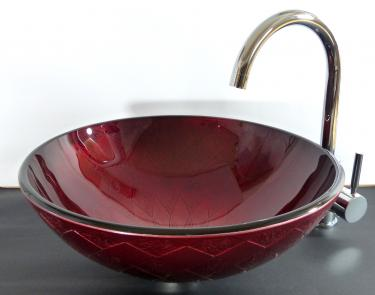"""Aufsatz Glas Waschbecken """"Siena"""" rot 42cm"""