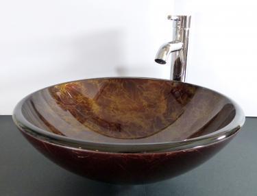 """Aufsatz Glas Waschbecken """"Antik"""" gold Premium 42cm rund"""