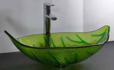 Aufsatz Glas Waschschale oval Blattform grün