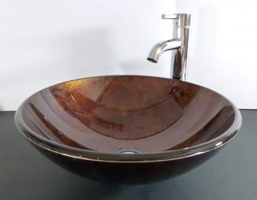 """Aufsatz Glas Waschbecken """"Antik"""" gold 42cm"""