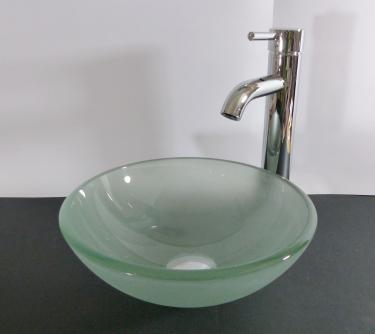 Aufsatz Glas Waschbecken satiniert 31cm