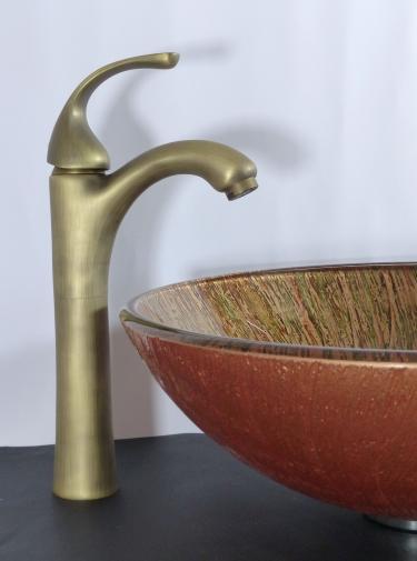 Hohe Bad Waschtisch Armatur Antik Messing gebürstet