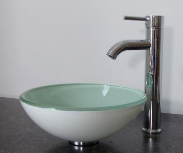 Aufsatz Glas Waschbecken weiß rund 31cm