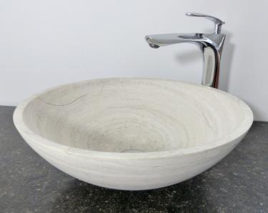 Helle Aufsatz Waschschale rund Marmor creme matt