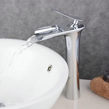 "Hohe Bad Waschtisch Armatur ""Wasserfall"" Messing Chrom"