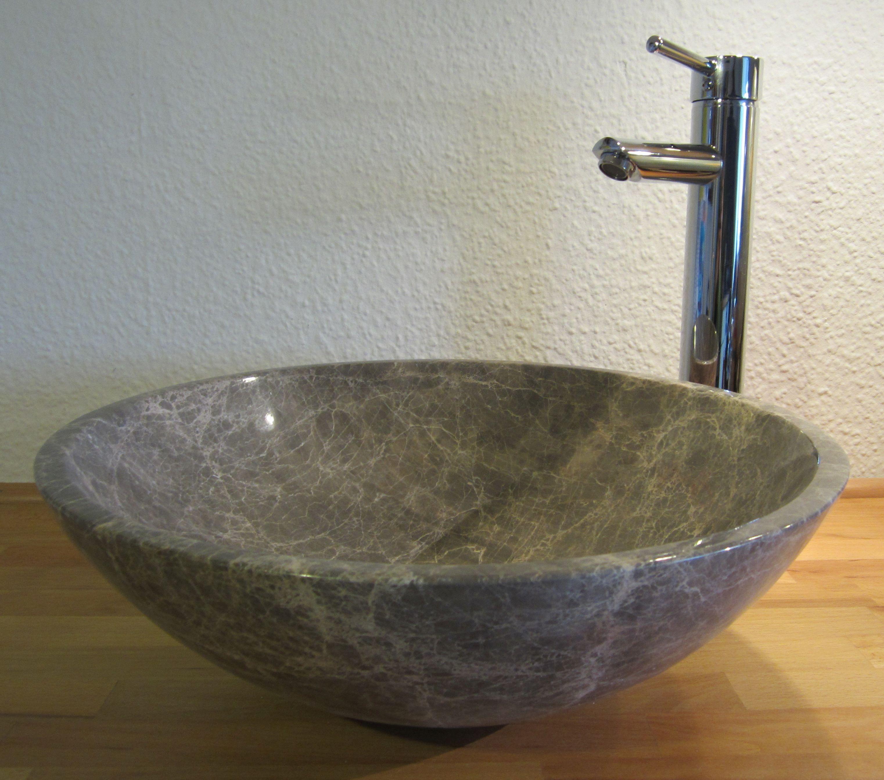 Nero Badshop | Aufsatz Waschbecken rund Marmor braun | online kaufen | {Waschbecken rund 48}