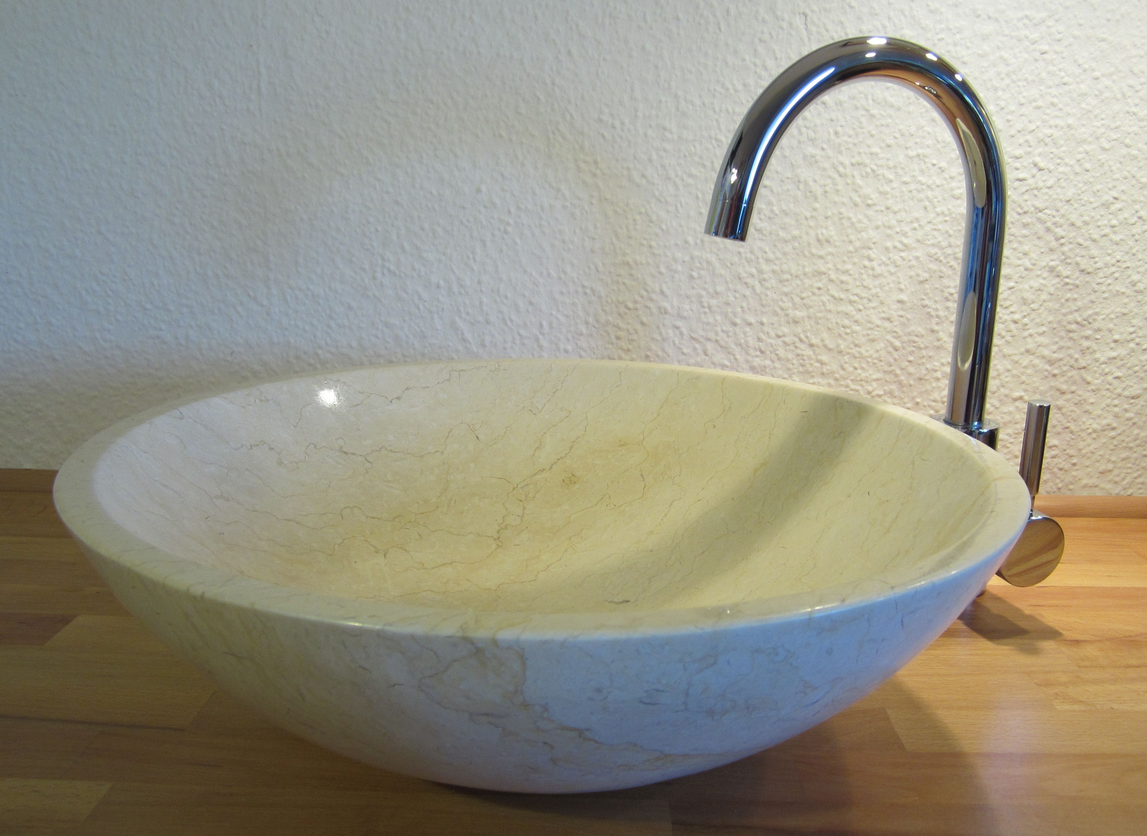 Nero Badshop | Aufsatz Waschbecken rund Marmor creme | online kaufen | {Waschbecken rund aufsatz 54}