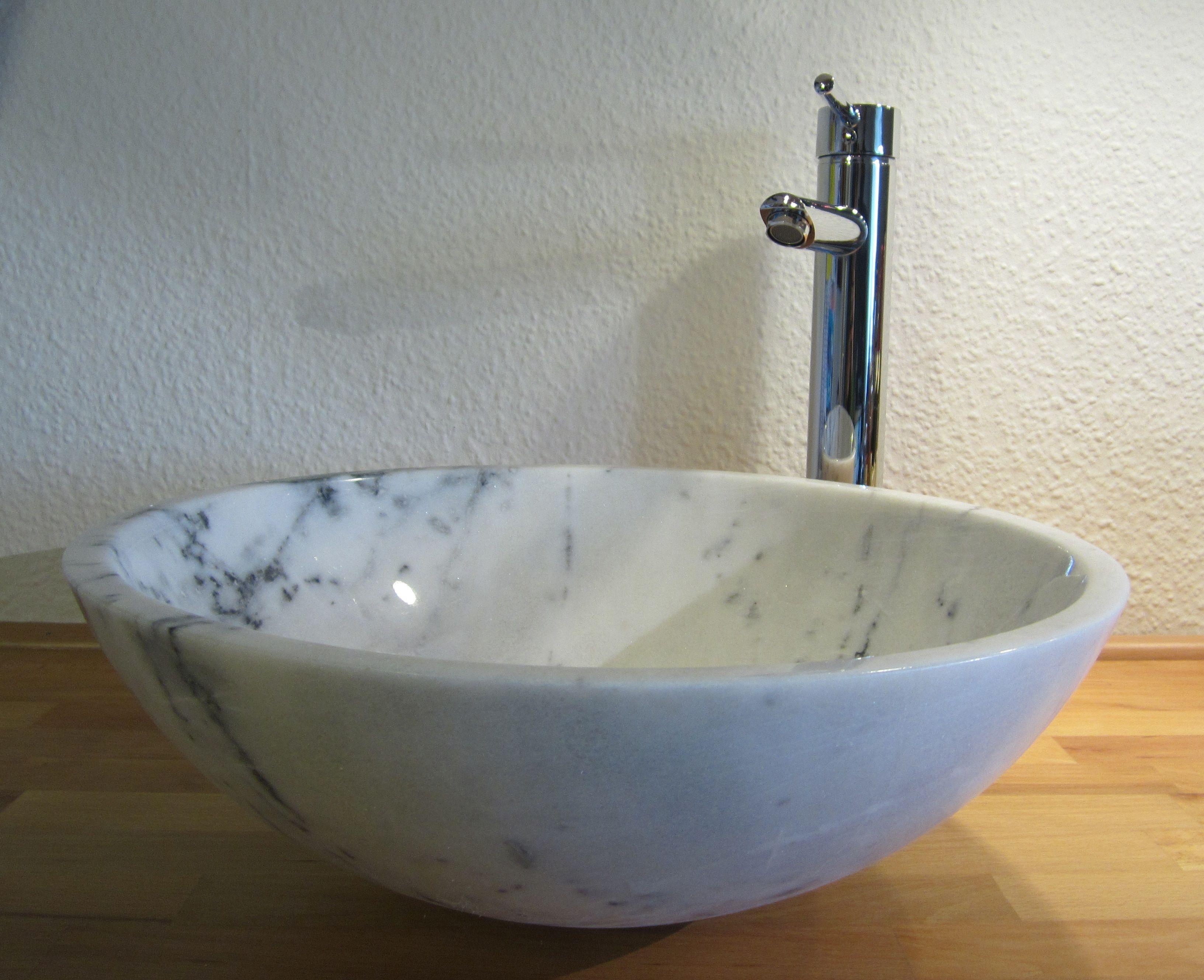 Marmor Waschbecken nero badshop aufsatz waschbecken rund marmor weiß braun