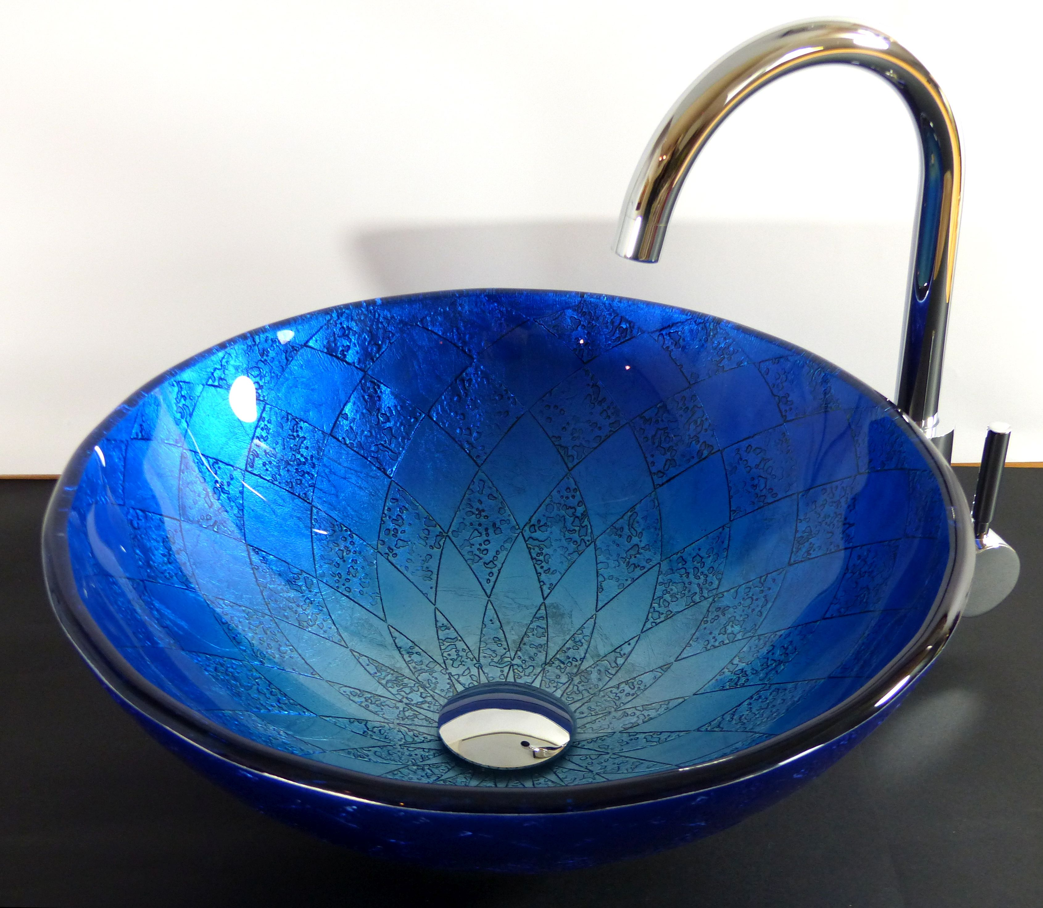 Nero Badshop  Aufsatz Glas Waschbecken Siena blau 42cm  ~ Waschbecken Blau