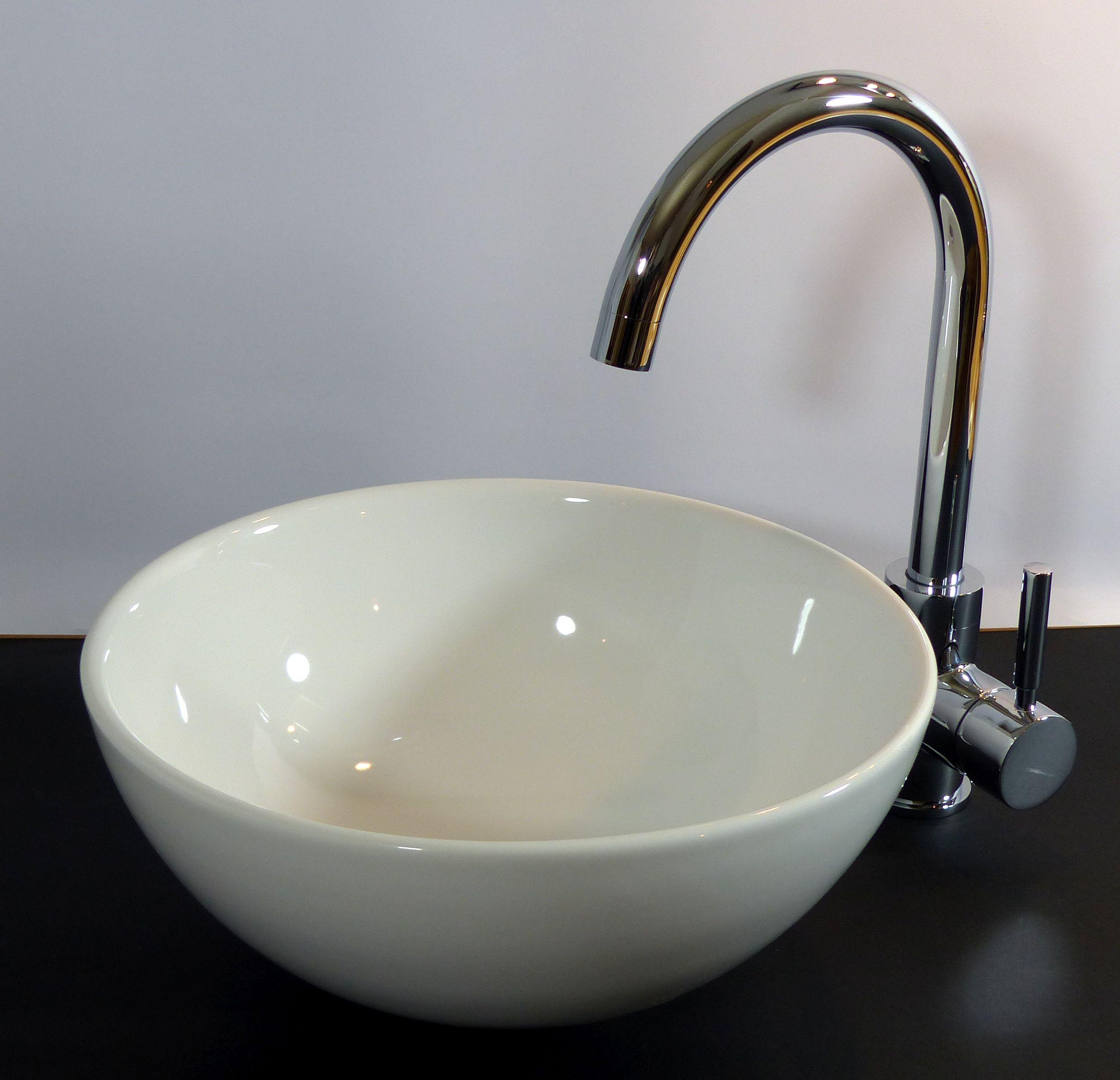 Nero Badshop | Keramik Aufsatz Waschbecken rund 32cm | online kaufen | {Waschbecken rund glas 68}
