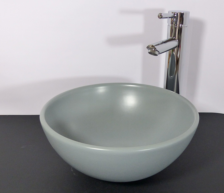 nero badshop kleines keramik aufsatz waschbecken rund hellgrau matt online kaufen. Black Bedroom Furniture Sets. Home Design Ideas