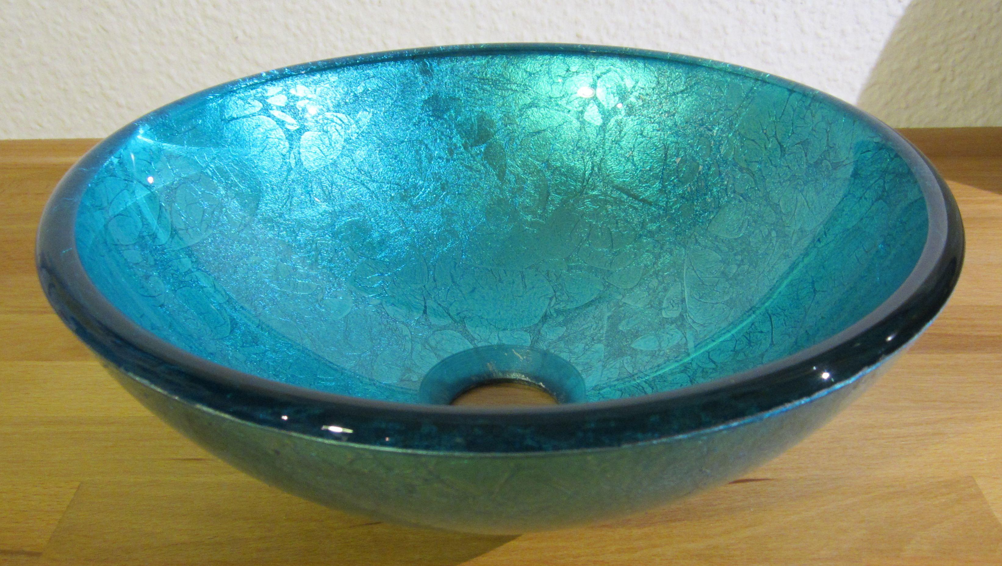 Nero Badshop | Aufsatz Glas Waschbecken blau 31cm | online kaufen | {Waschbecken rund glas 97}