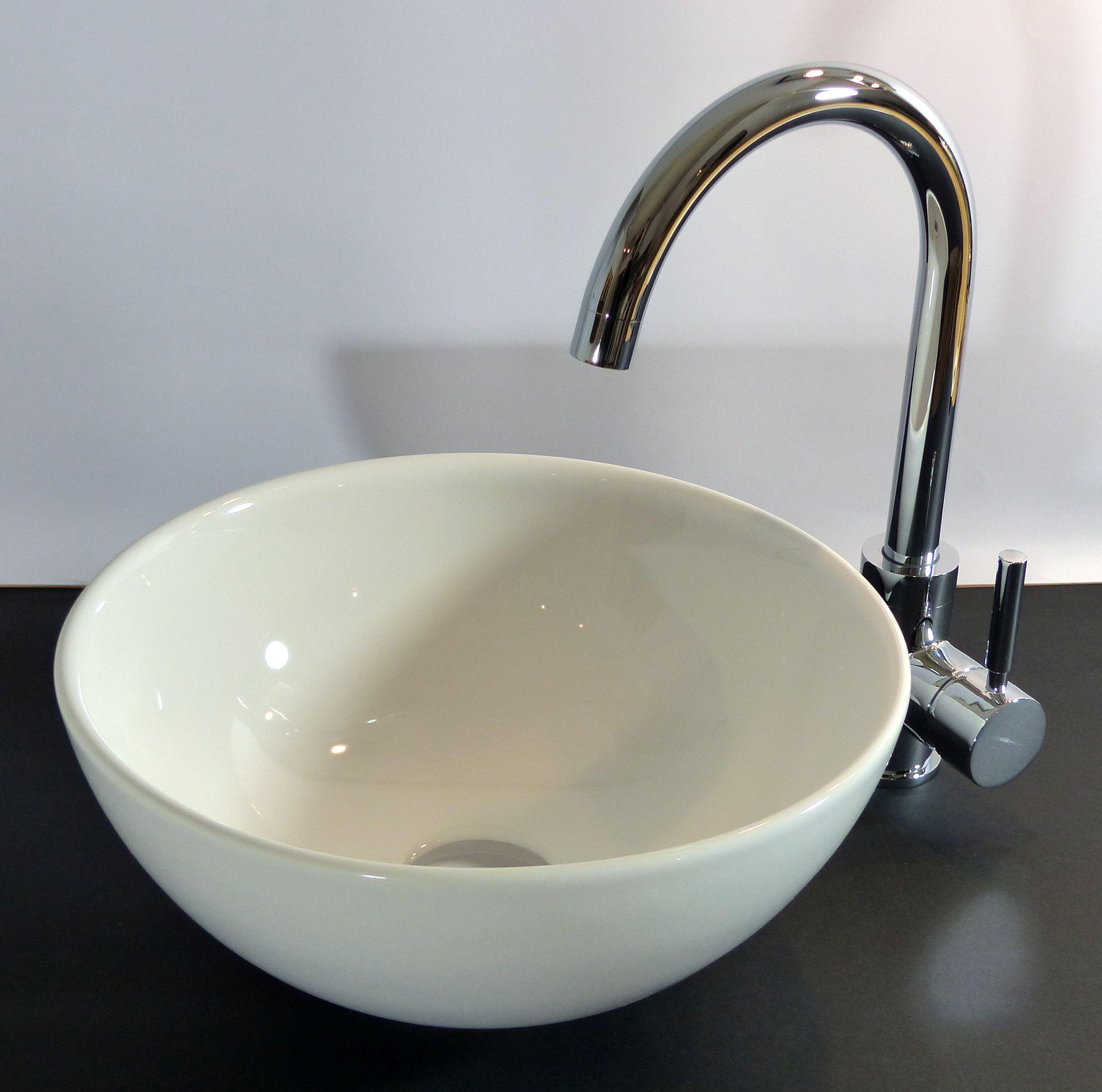 Nero Badshop | Keramik Aufsatz Waschbecken rund 32cm | online kaufen | {Waschbecken rund 12}