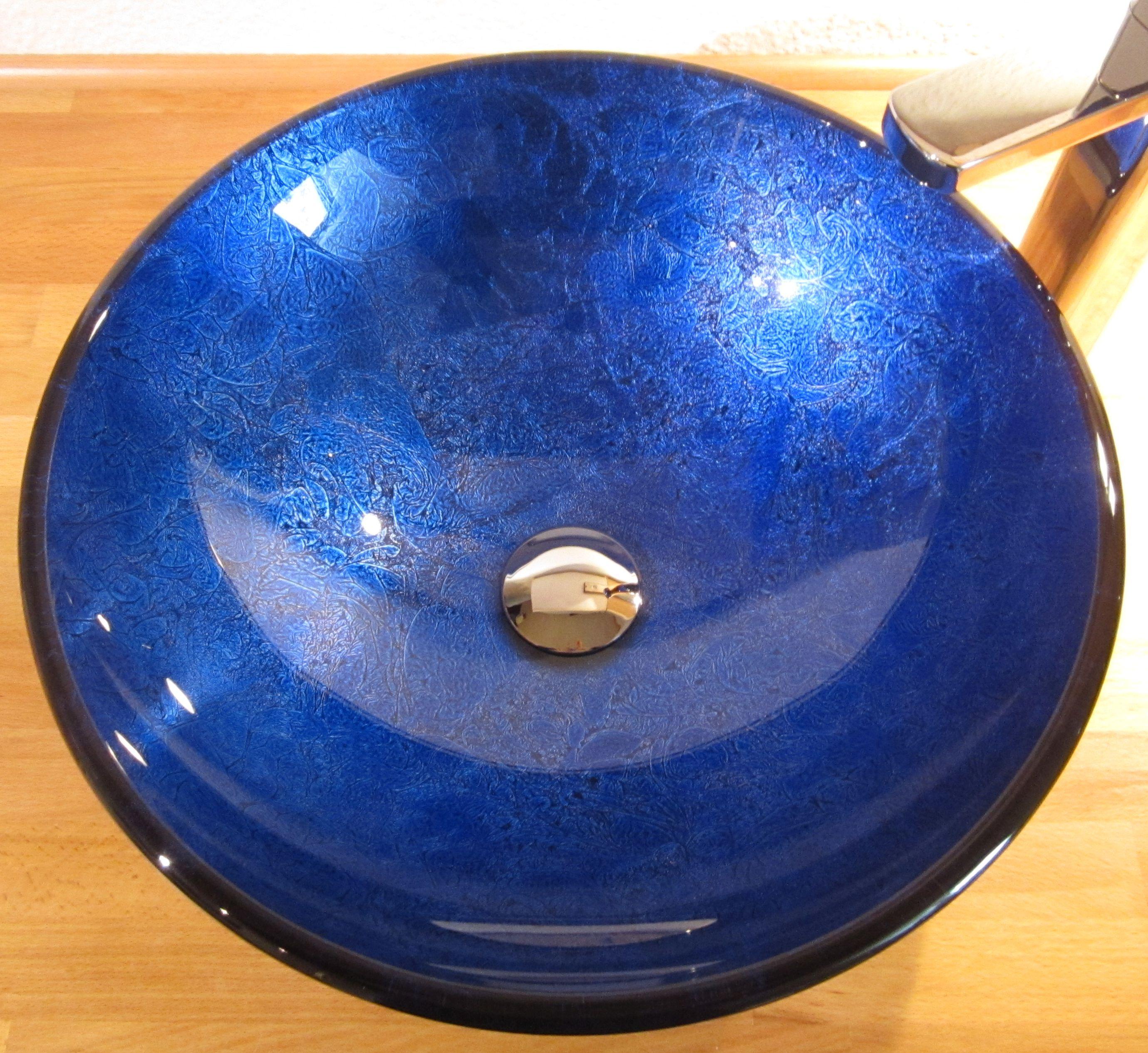 Nero Badshop  Aufsatz Glas Waschbecken blau lila 42cm  ~ Waschbecken Blau