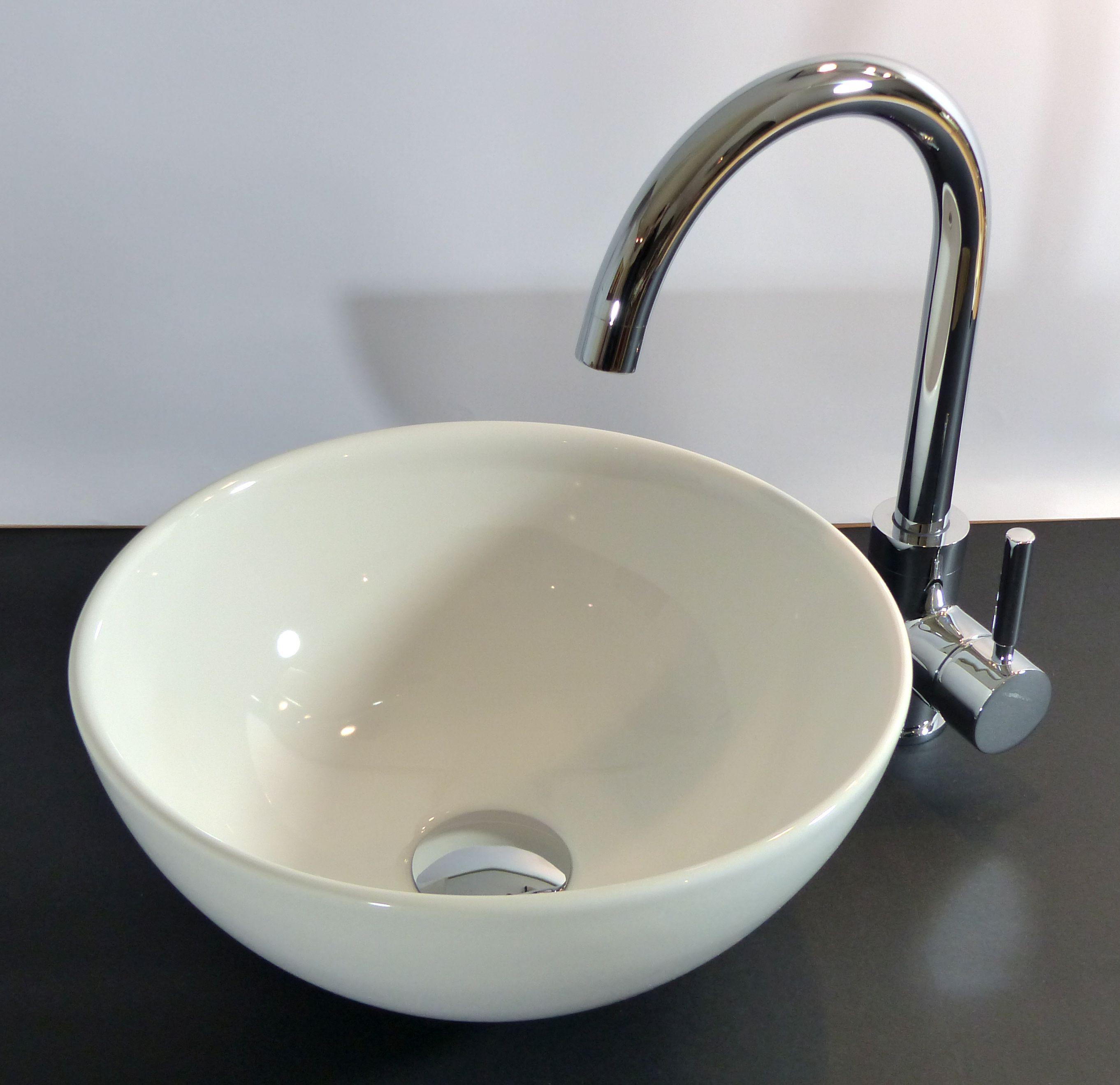 Waschbecken rund gäste wc  Nero Badshop | Keramik Aufsatz Waschbecken rund 32cm | online kaufen