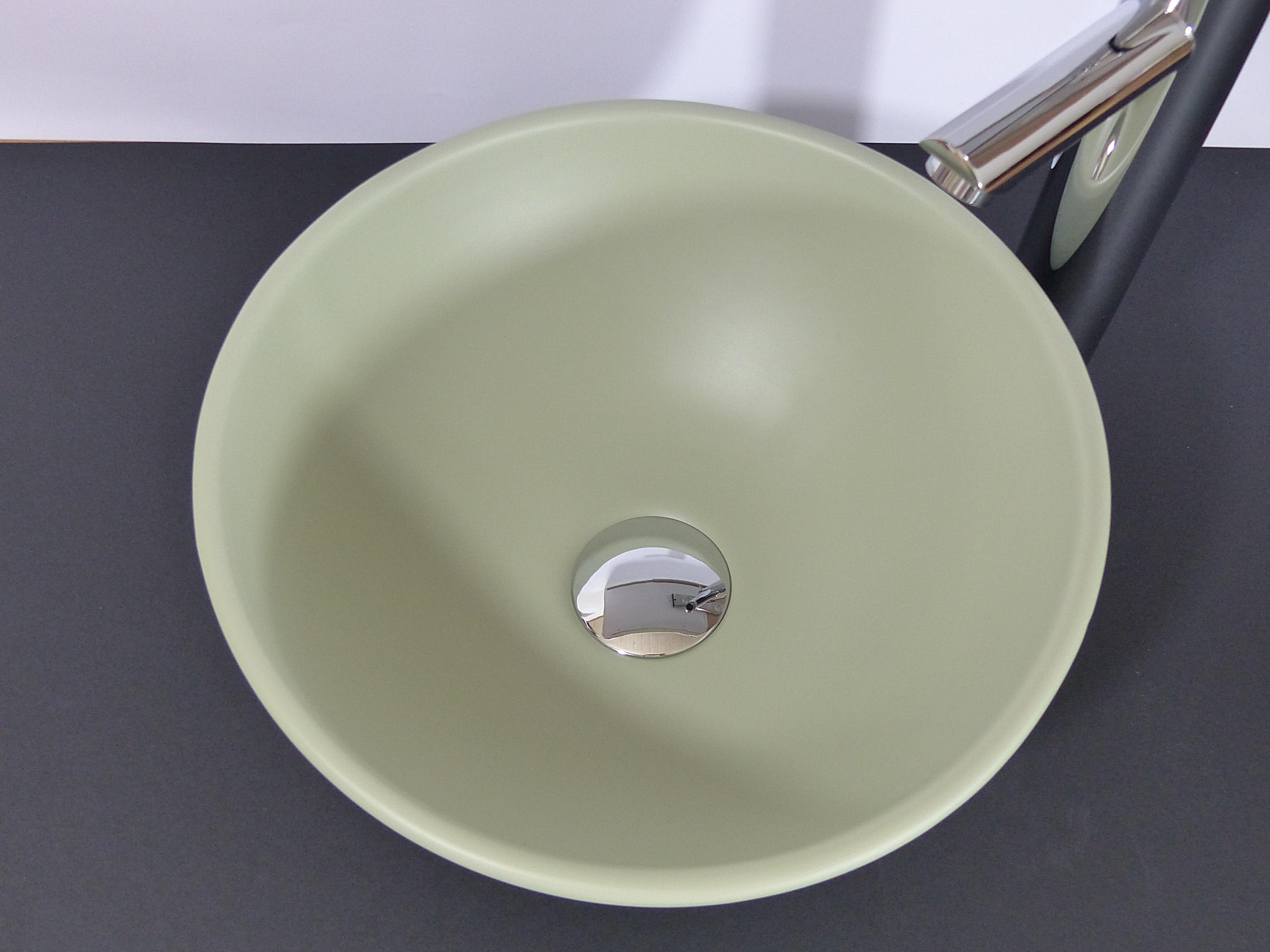 nero badshop kleines keramik aufsatz waschbecken rund khaki matt online kaufen. Black Bedroom Furniture Sets. Home Design Ideas