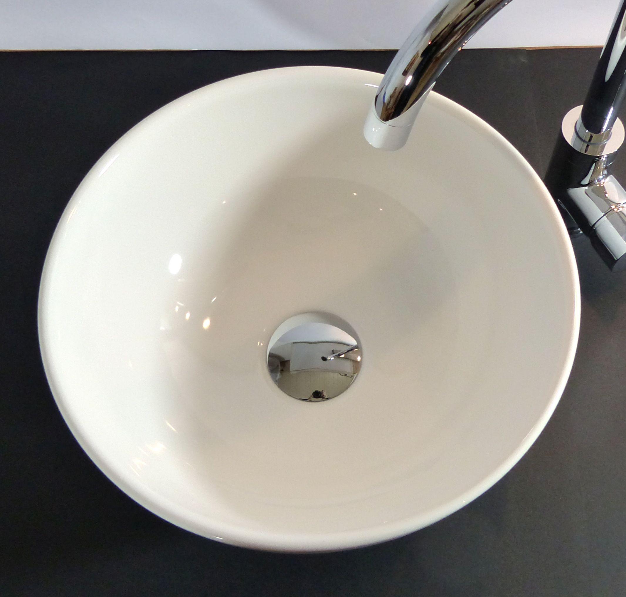 Nero Badshop | Keramik Aufsatz Waschbecken rund 32cm | online kaufen | {Waschbecken rund 76}